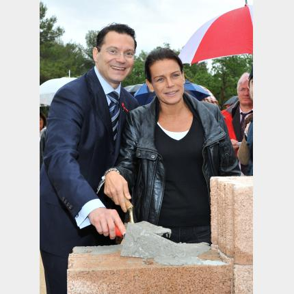 HSH Princess Stephanie, Chairperson of Fight Aids Monaco (FAM), lays the cornerstone of La Maison...