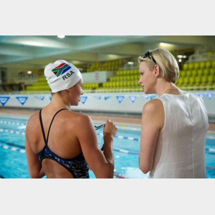 HSH Princess Charlene invited the South African swimmers selected for the London Olympics to train...